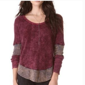 XS Free People Red & Brown Long Sleeve Thermal